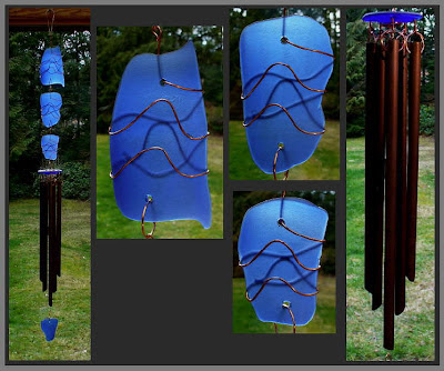 windchime, cobalt blue, beach glass inspired, copper