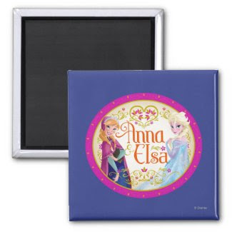 Anna and Elsa with Floral Frame Refrigerator Magnets