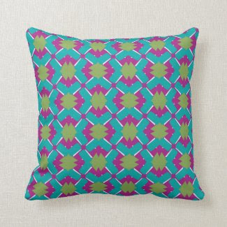 Throw Pillow with Blue Green Magenta Geometric