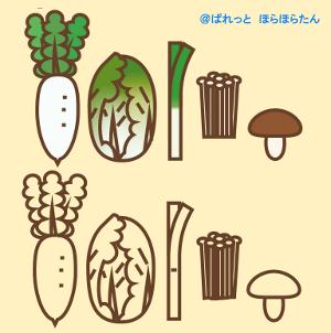 鍋野菜イラスト大根白菜ネギしいたけえのき 収穫祭や