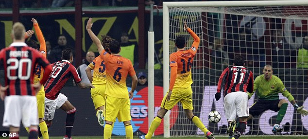 Appeal: Barcelona wanted a free-kick for handball in the build up but Boateng did not care