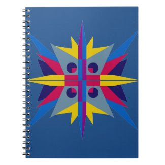 Spiral Notebook with Art Deco Style Star