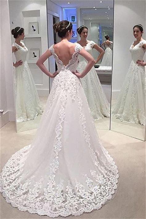Elegant A line Lace Bride Dress 2018 V neck Open Back Long