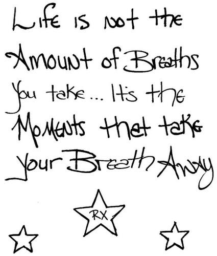 Life Is Not The Amount Of Breath You Take Its The Moment That Take