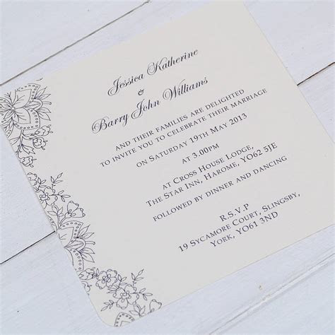 'vintage lace' wedding invitations by beautiful day