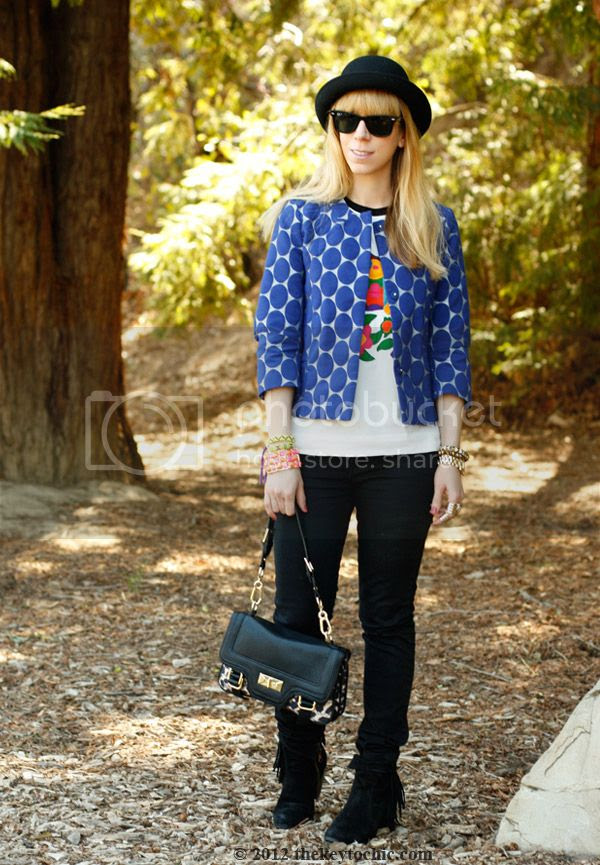Marni at H&M blue dot jacket, Marni at H&M flower T-shirt