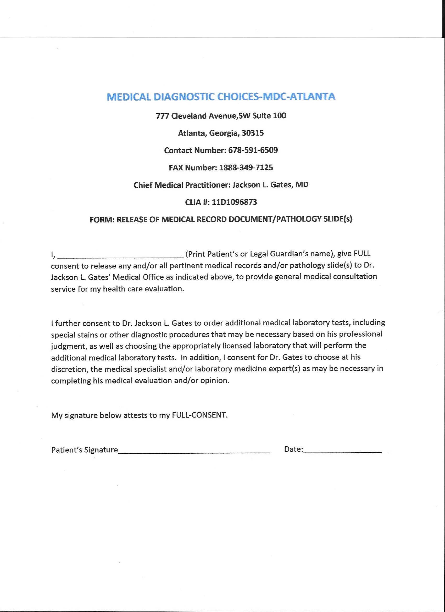 Free Medical Records Release Authorization Form Hipaa
