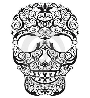 Black Ink Sugar Skulls Tattoos Design