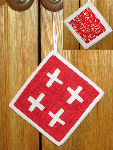 red crosses ornament front and back