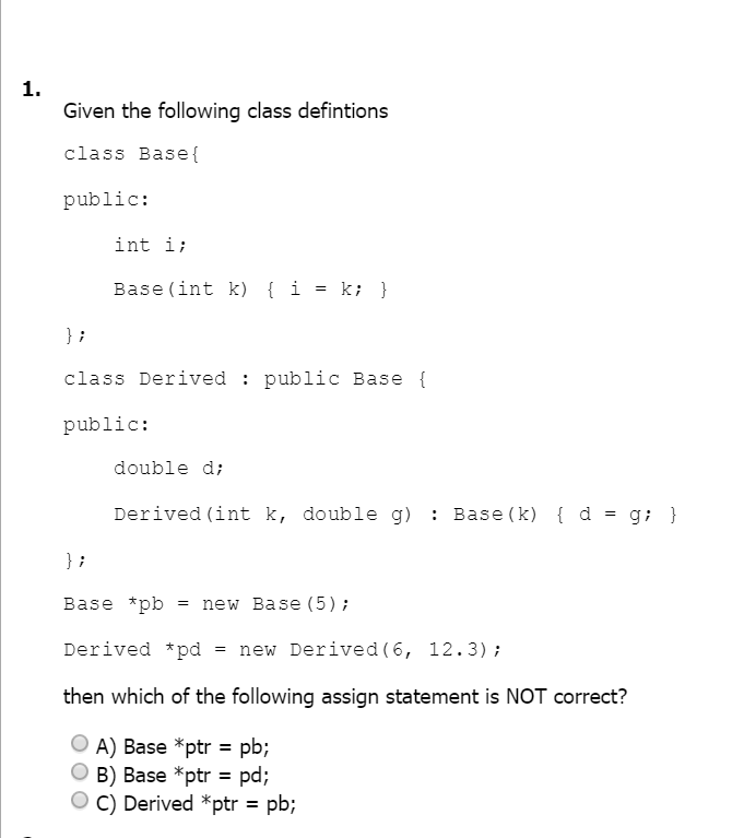 Solved: C++ Multiple Choice Questions Please Be Sure Of Th ...