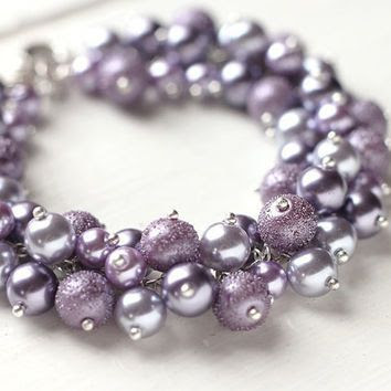 Purple Wedding Bridesmaid Jewelry Pearl Cluster Bracelet - Dusty Purple, Soft Lavender Color