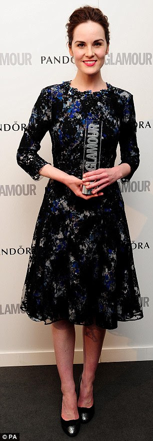 Rule Britannia: Downton Abbey's Michelle Dockery won the Editor's Special gong at the Glamour Women of the Year Awards last night while her on-screen sister Jessica Findlay-Brown took the Best UK Actress accolade