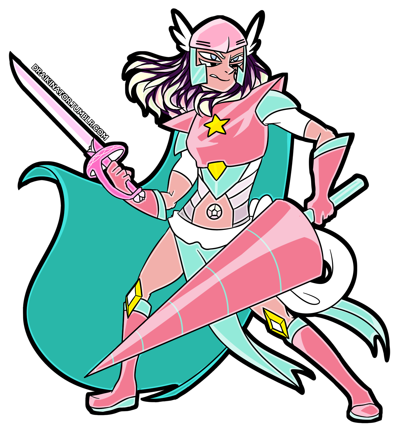 Commission for @a-universe-reborn of their pearl/stevonnie fusion!! It's a sick knight version of Rainbow Quartz!