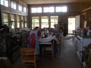More of Ladies Processing Pumpkin & Sewing