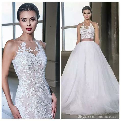 lace appliques mermaid wedding dress  detachable skirt