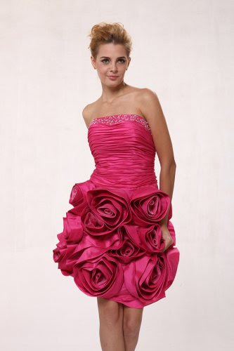 hot pink prom dresses short. #411 Hot Pink Taffeta
