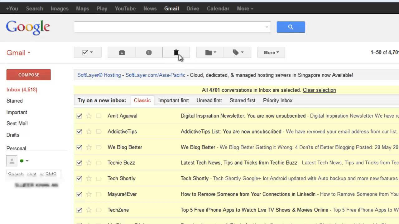 How to Delete All Emails from Gmail Inbox - YouTube