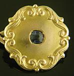 Victorian sapphire and scroll cufflinks. (J9388)