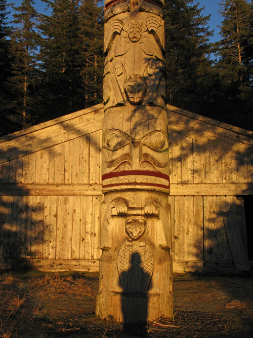 self portrait shadow with totem, Chief Son-i-Hat Whale House, Kasaan, Alaska