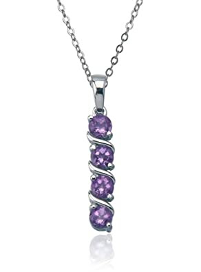 Sterling Silver Four-Stone Amethyst Pendant