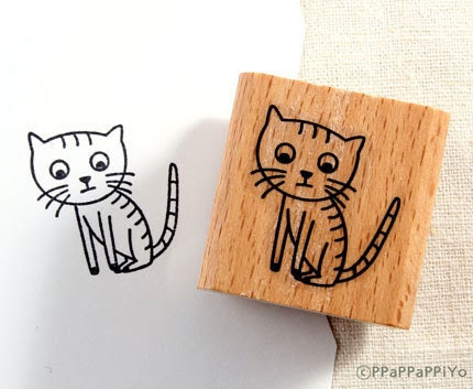 43% OFF SALE cute cat  Rubber Stamp - ppappappiyo