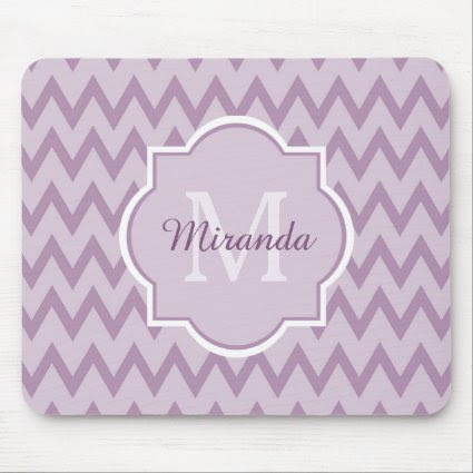 Trendy Purple Chevron Zigzag Name and Monogram Mouse Pad