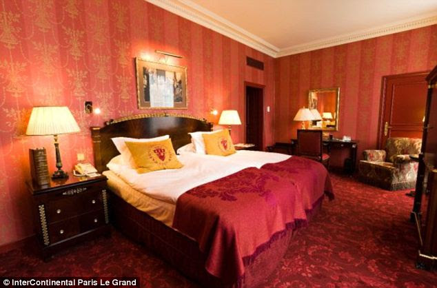 Block reservation: Because of the size of his security detail, Biden likely rented out somewhere near 130 rooms (one of which may have been this one) in the luxurious Parisian hotel