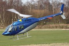 G-SUET - 1968 build Bell 206B Jet Ranger, departing down Runway 27 at Barton