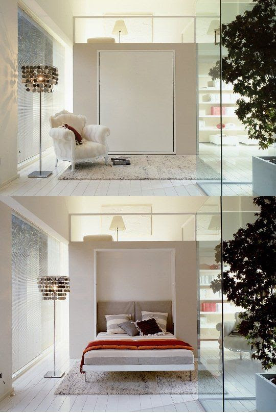 This brilliant murphy bed saves room in this chic space.