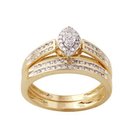 10K Yellow Gold 3/8 Cttw Certified Diamond Ladies 2 pc