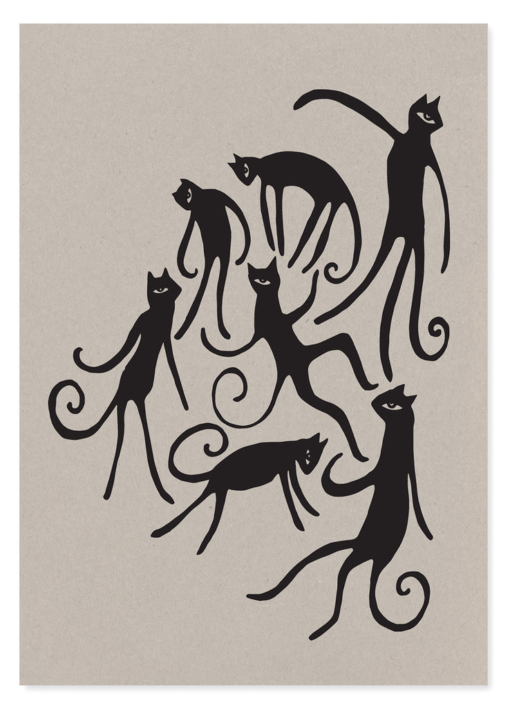 dancing cat party A3 brown 2