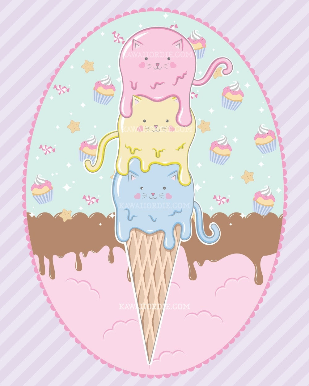 kittens, ice cream, ice cream cone, ice cream shop, cats, pastels, art print