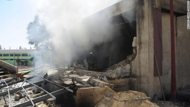 A school building that was being occupied by security forces and pro-government militias was reportedly destroyed by rebel-planted bombs in Damascus on Tuesday, September 25.