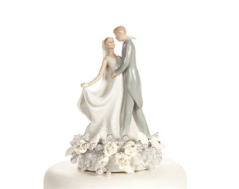 Vintage Rose Pearl First Kiss Wedding Cake Topper