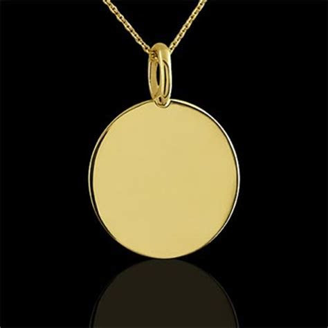 Plain Engravable Disc Yellow Gold   OroSpot.com