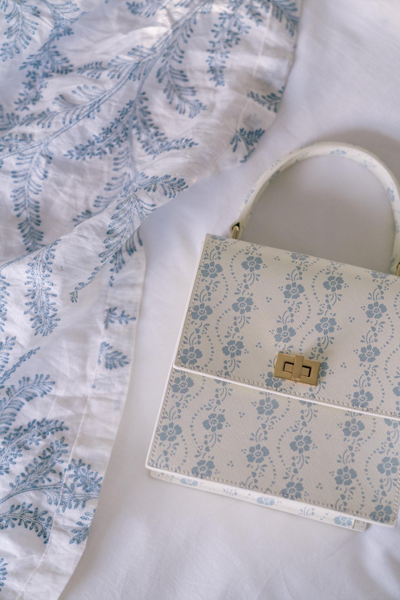 floral feminine leather handbag