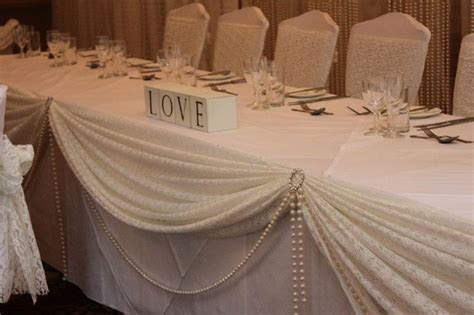 Wedding Head Table Decor Idea   Love the lace and pearls
