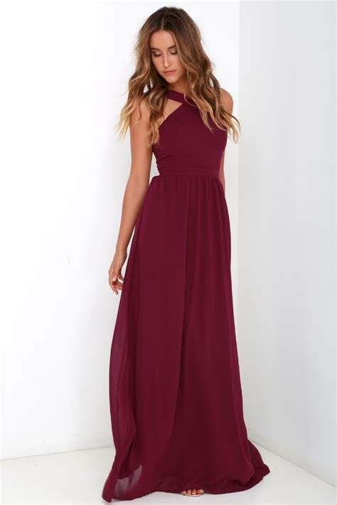 Beautiful Burgundy Dress   Maxi Dress   Halter Dress