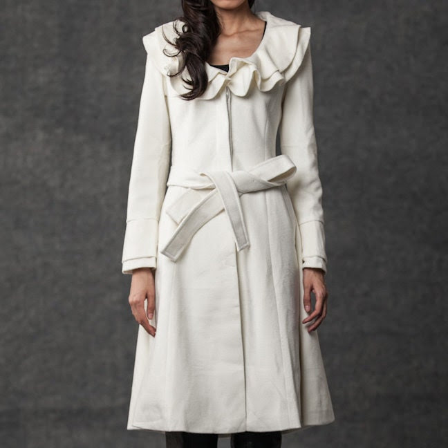 White coat double collar cashmere coat (036) - YL1dress