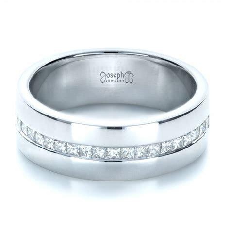 Custom White Gold and Diamond Men's Wedding Band #1306