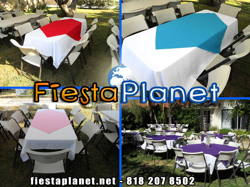 Tables Chairs Linen Table Cloths for rent Rectangular and Round ...