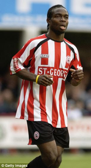 Investigation: Sam Sodje, playing here for Brentford, allegedly said he could arrange for footballers in the Championship to get themselves a yellow card in return for tens of thousands of pounds