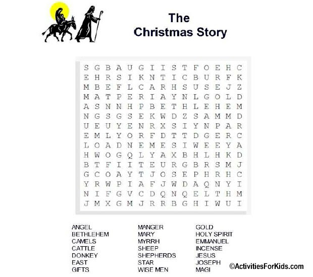 Christmas Story Word Search – Activities For Kids