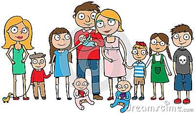 Grande família com muitas crianças