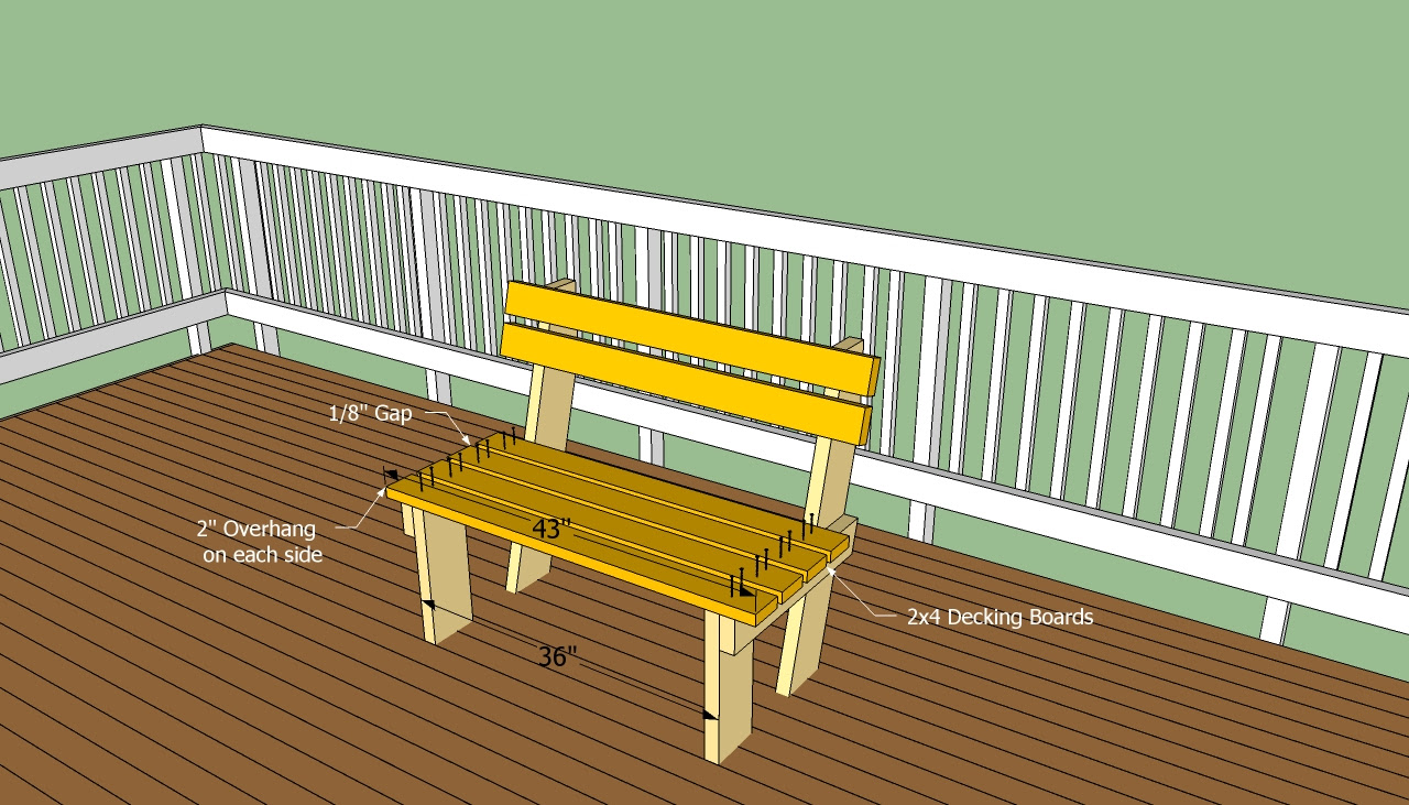Deck Bench Plans Free | HowToSpecialist - How to Build, Step by ...