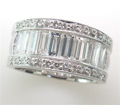 st1686   White Gold Baguette and Round Diamond Wide Band