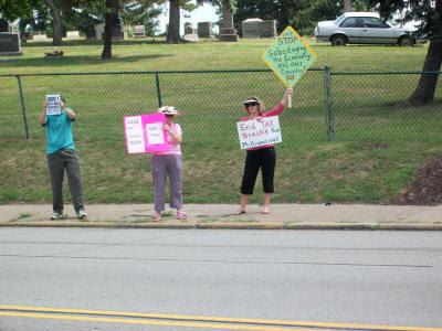Demonstrators across the street