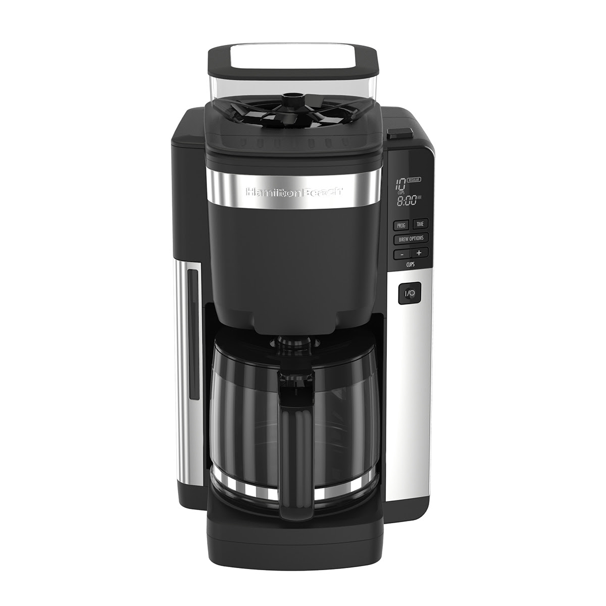 Hamilton Beach 12-Cup Coffee Maker with Automatic Grounds Dispenser, Black & Stainless - 45400