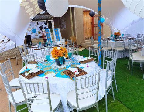 Turquoise blue Venda traditional wedding decor at Shonga
