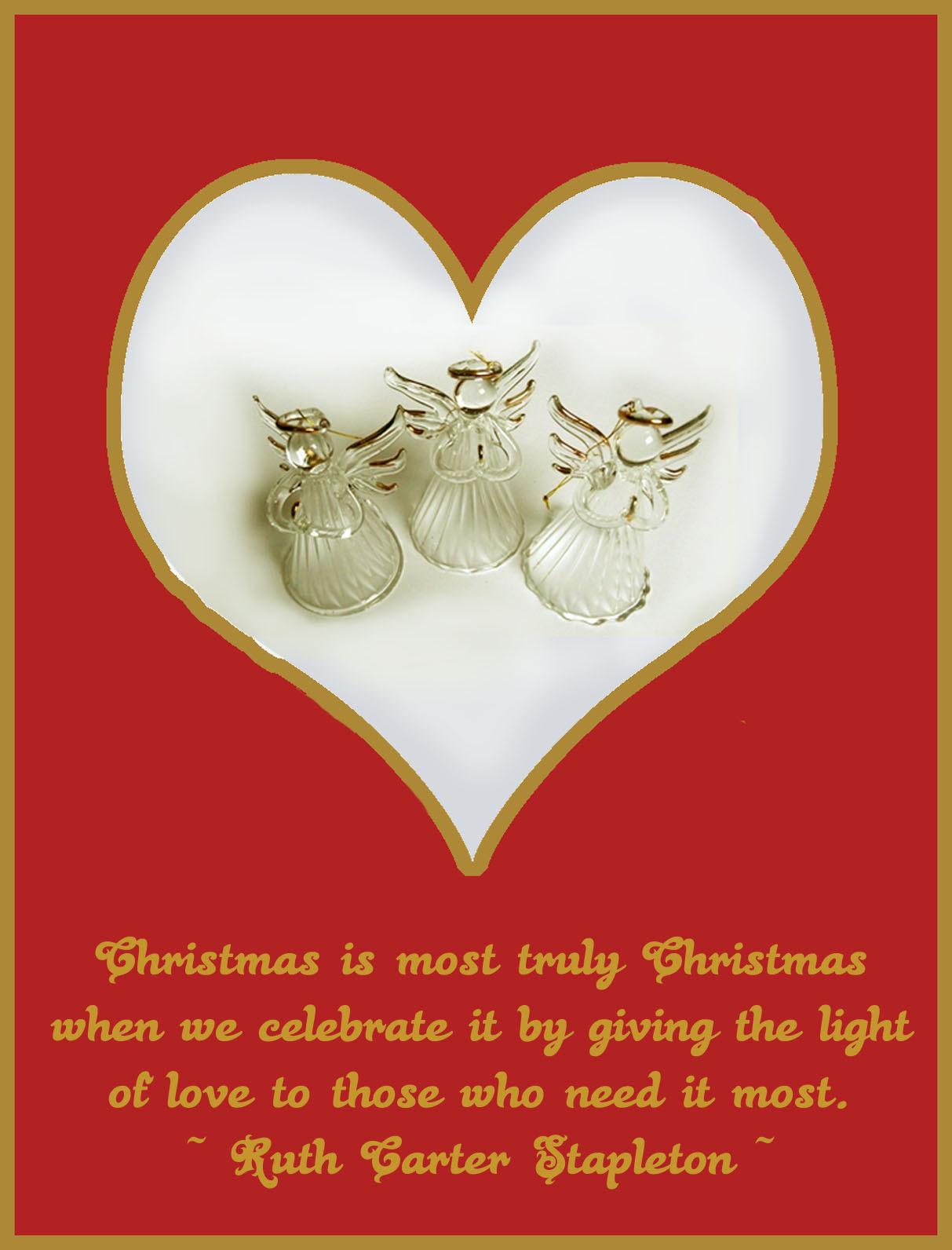 glass christmas angels greeting card light of love